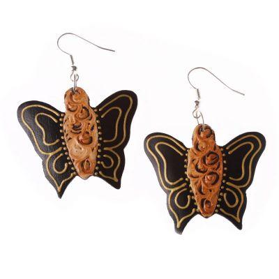 Orecchini in legno dipinto Farfalle