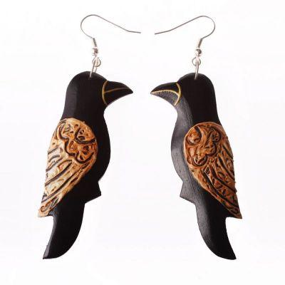 Orecchini in legno dipinto Songbird