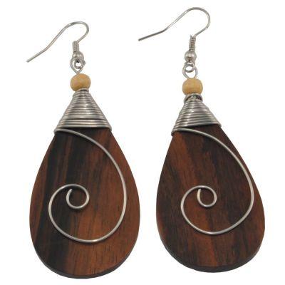 Orecchini in legno decorati in acciaio Antica bellezza - lacrima