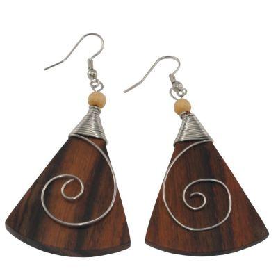 Orecchini in legno decorati in acciaio Antica bellezza - triangolo