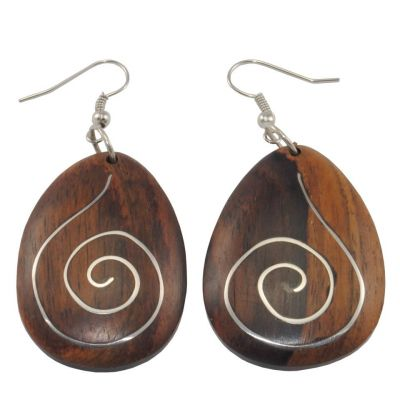 Orecchini in legno decorati in acciaio Armonia in legno
