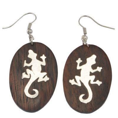 Orecchini in legno decorato in acciaio con impronta di lucertola