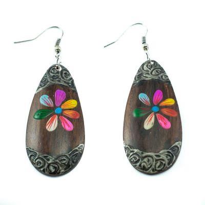 Orecchini in legno dipinto Fiore di caramella