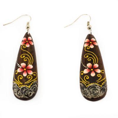 Orecchini in legno dipinto Love blossoms