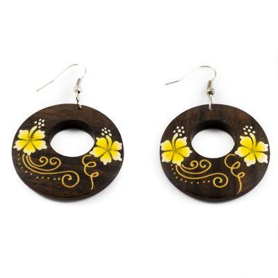Orecchini in legno dipinto Simpatici fiori - gialli