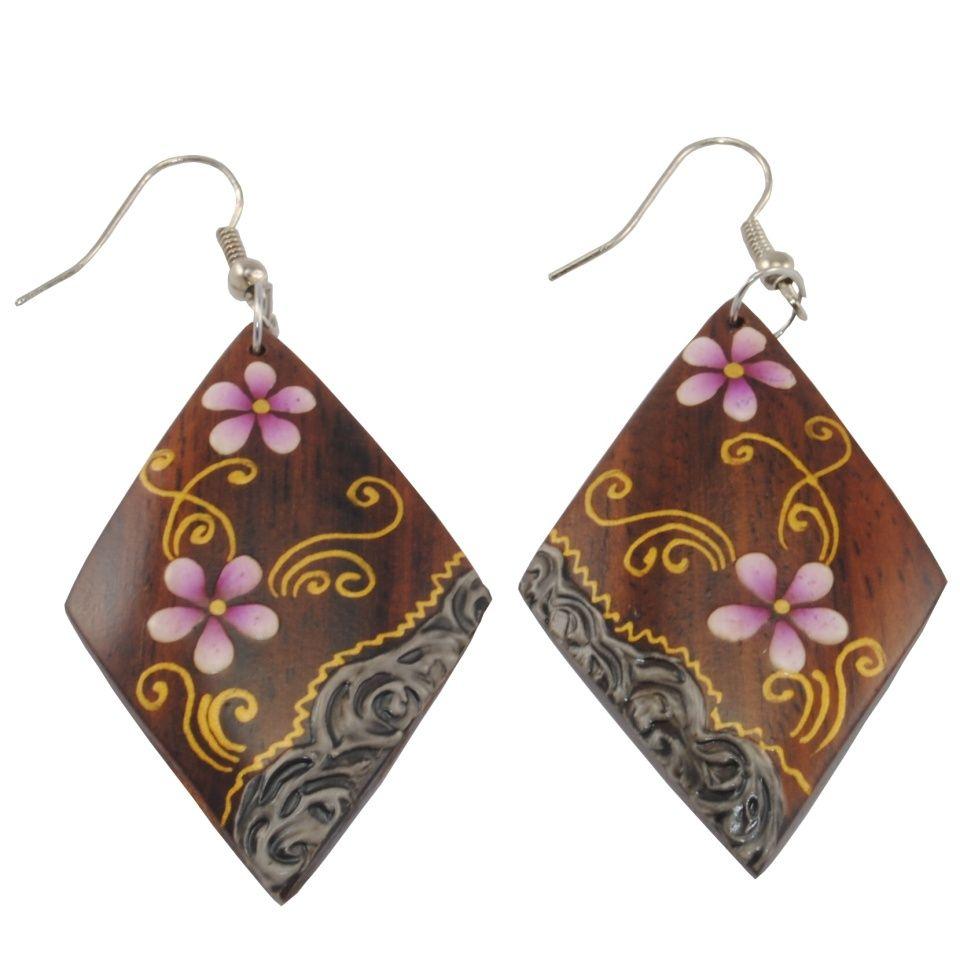 Orecchini in legno dipinto Viola odorata
