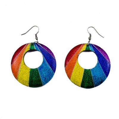 Orecchini in legno dipinto Raggi arcobaleno