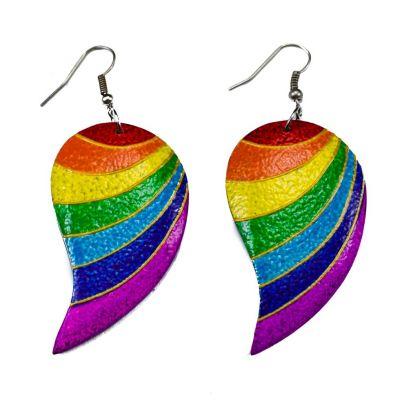 Orecchini in legno dipinto Strisce arcobaleno