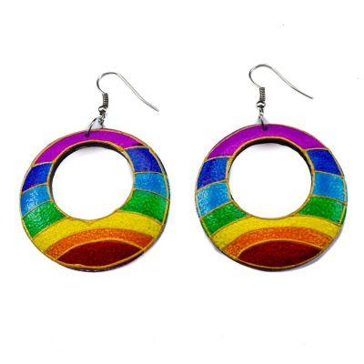 Orecchini in legno dipinto Orizzonte arcobaleno