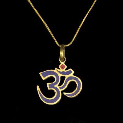 Ciondolo in ottone Om con lapislazzuli e imitazione di corallo | pendente separato, con una catena - circonferenza 45 cm, con una catena - circonferenza 55 cm