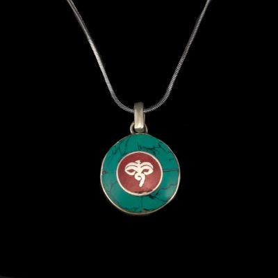 Ciondolo in argento tedesco Occhi di Buddha - in un cerchio | pendente separato, con una catena - circonferenza 45 cm, con una catena - circonferenza 55 cm