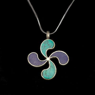 Ciondolo in argento tedesco Svastica fiore - blu | pendente separato, con una catena - circonferenza 45 cm, con una catena - circonferenza 55 cm