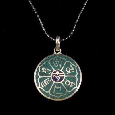 Ciondolo in argento tedesco Mantra - Occhi di Buddha | pendente separato, con una catena - circonferenza 45 cm, con una catena - circonferenza 55 cm