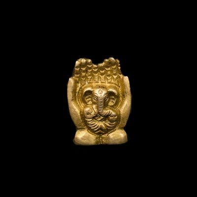 Porta incenso in metallo Ganesh in due palme