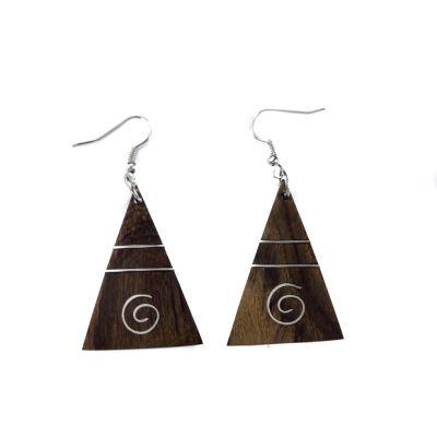 Orecchini in legno decorati in acciaio Pyramid