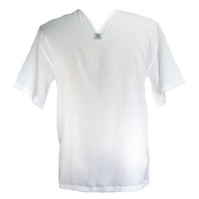 Kurta Lamon White - camicia da uomo con maniche corte   XXL, XXXL