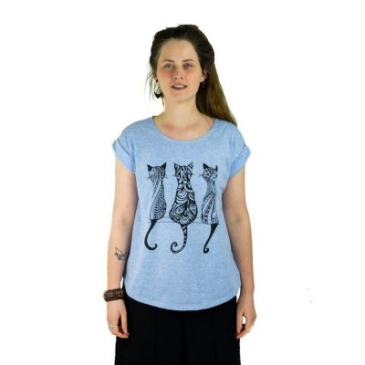 T-shirt da donna con maniche corte Darika Cats Bluish   UNISIZE