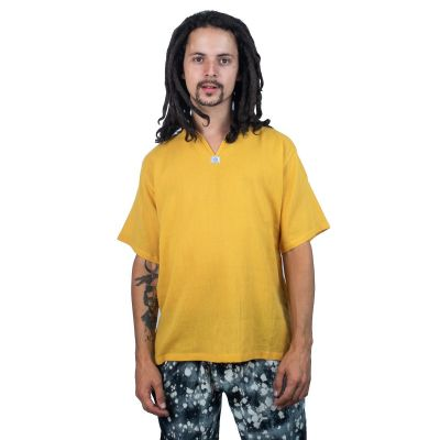 Kurta Lamon Mustard - camicia da uomo con maniche corte   M, L, XL, XXL, XXXL