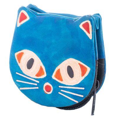 Portafoglio in pelle Kitty - blu