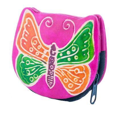 Portafoglio in pelle Butterfly - rosa