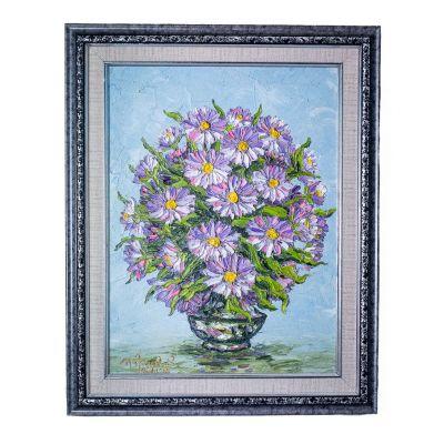 Vaso di pittura di fiori viola