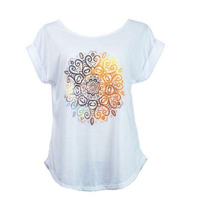 T-shirt da donna con maniche corte Darika Mandala White | UNISIZE