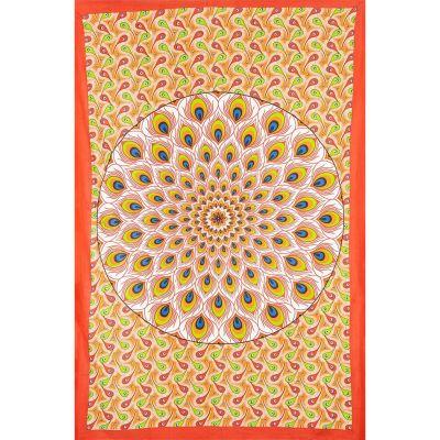 Copriletto Peacock Mandala - rosso-arancio