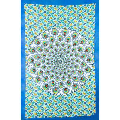 Copriletto Peacock Mandala - verde-blu
