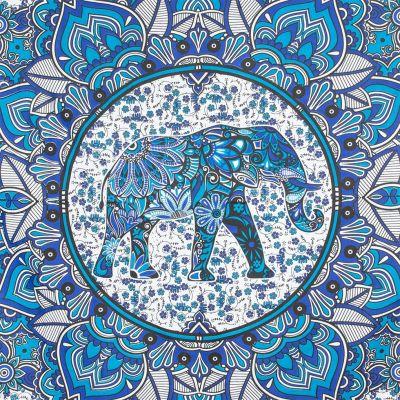 Copriletto in cotone Elefante Mandala - blu