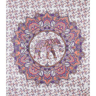 Copriletto Elefante Mandala - rosa-viola