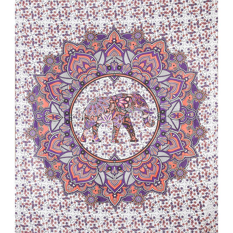 Copriletto in cotone Elefante Mandala - rosa-viola India