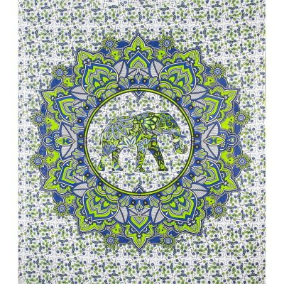 Copriletto Elefante Mandala - verde-blu