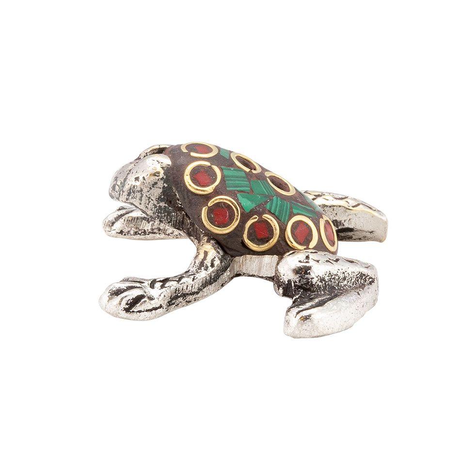 Porta incenso in metallo Rana decorata 4 India