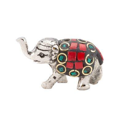 Porta incenso in metallo Elefantino decorato 1