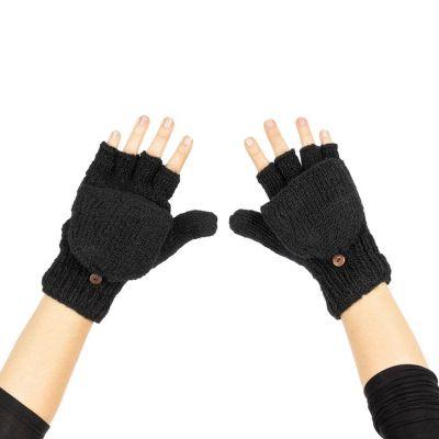 Guanti flip di lana Butwal Black