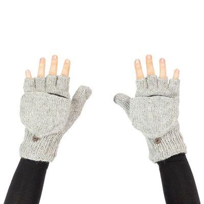 Guanti flip di lana Butwal Light Grey