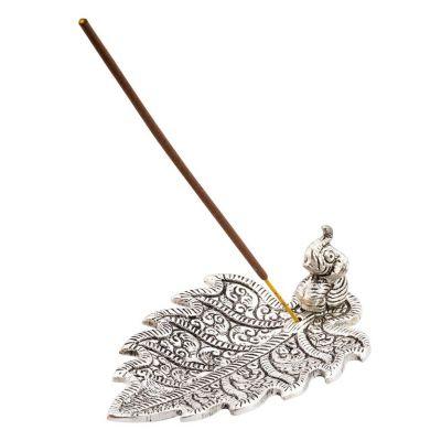 Porta incenso in metallo Elefante su foglia