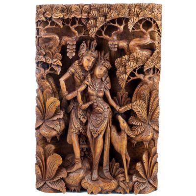 Scultura in legno Rama, Sita e il cervo dorato