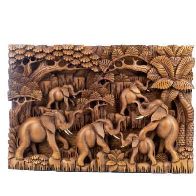 Scultura in legno Branco di elefanti nella foresta
