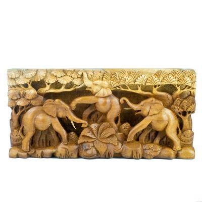 Scultura in legno Tre elefanti felici
