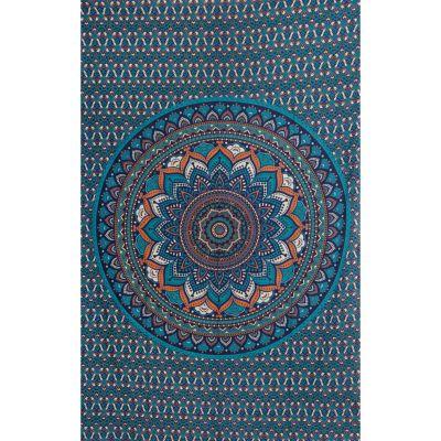 Copriletto in cotone - Mandala di loto – azzurro India