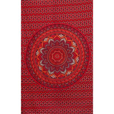 Copriletto in cotone - Mandala di loto – rosso e viola