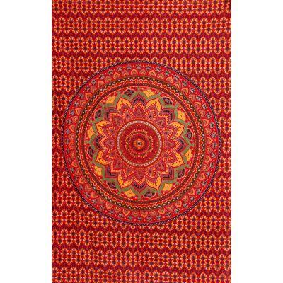 Copriletto in cotone - Mandala di loto – infuocato