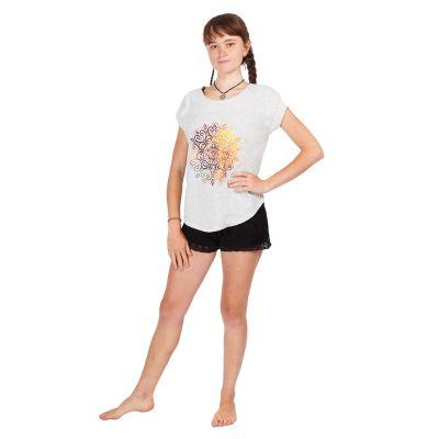 T-shirt da donna con maniche corte Darika Mandala Greyish | UNI