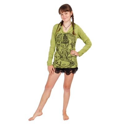 T-shirt con cappuccio da donna Sure Angry Ganesh Green | S, M, L, XL