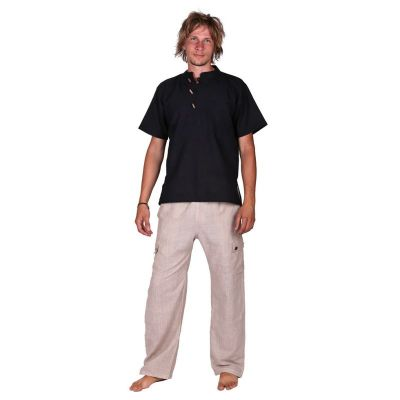 Kurta Pendek Hitam - camicia da uomo con maniche corte   S, M, L, XL, XXL, XXXL