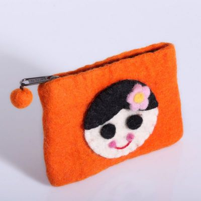 Portamonete con motivo bambina Arancione