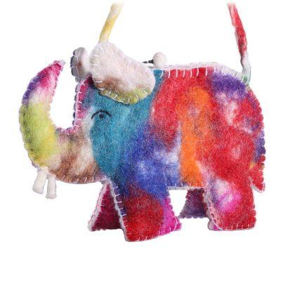 Borsa a mano in feltro Elefante colorato