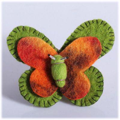 Spilla Farfalla Verde-arancio